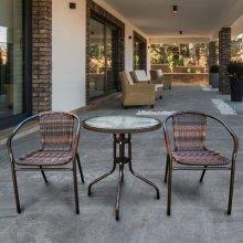 Комплект дачной мебели Афина Мебель Асоль-1B TLH-037BR2/060RR-D-60 Brown 2Pcs