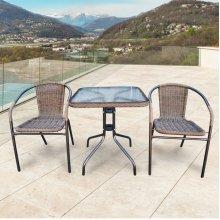 Комплект дачной мебели Афина Мебель Асоль-2A TLH-037AR2/060SR-60х60 Cappuccino (2+1)