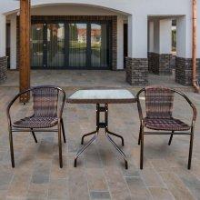 Комплект дачной мебели Афина Мебель Асоль-2B TLH-037BR2/060SR-60х60 Brown 2Pcs